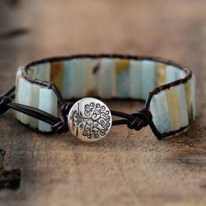 bracelet amazonite leather alloy silver tree clasp
